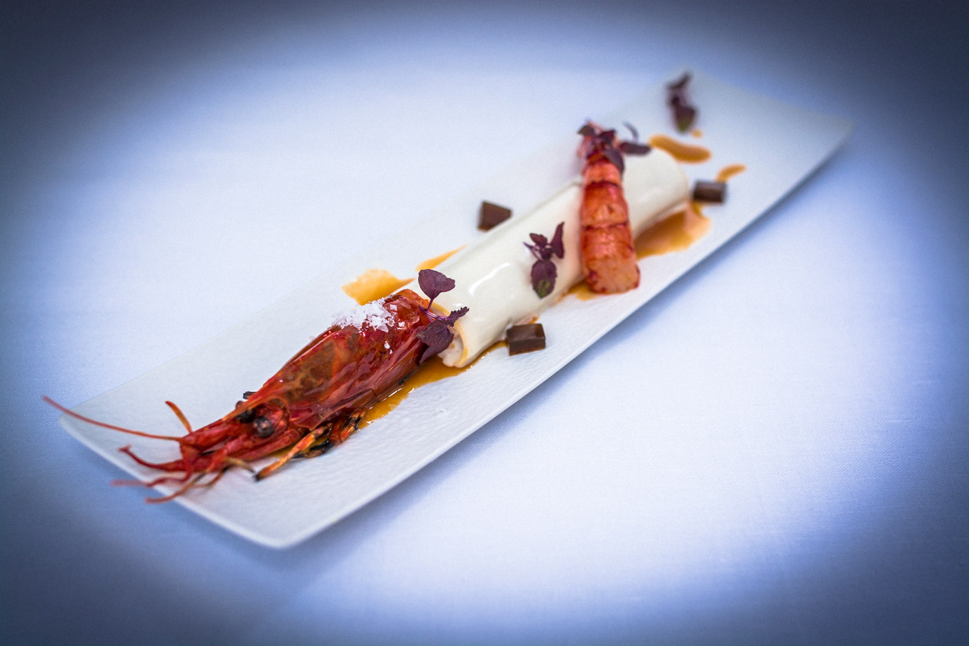 Carabinero Cannelloni, American Sauce and Truffle Jelly - New menu at La Terraza del Claris