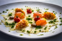 Codfish Carpaccio Catalan Style with flavors of 'Esqueixada'