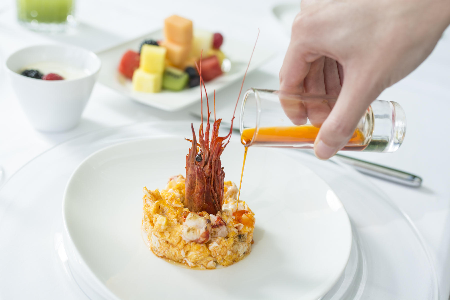 Scrambled egg and red shrimp