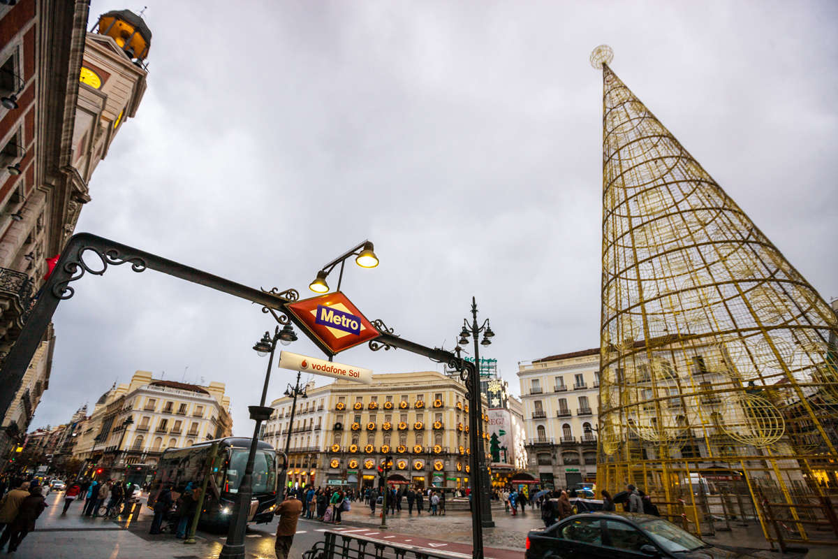 Puerta del Sol with christmas decorations in Madrid