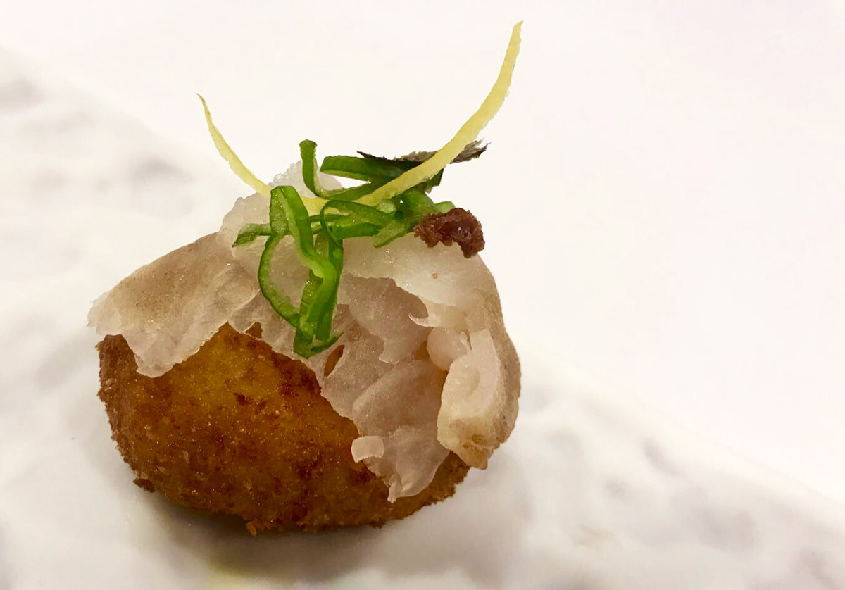 Nigiri croquette with white fish