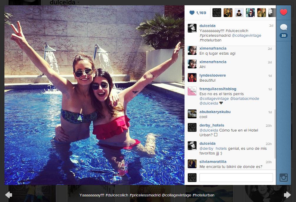 Dulceida en la piscina del Hotel Urban de Madrid