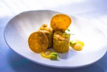 Foie gras mi-cuit con maíz tierno y maíz tostado