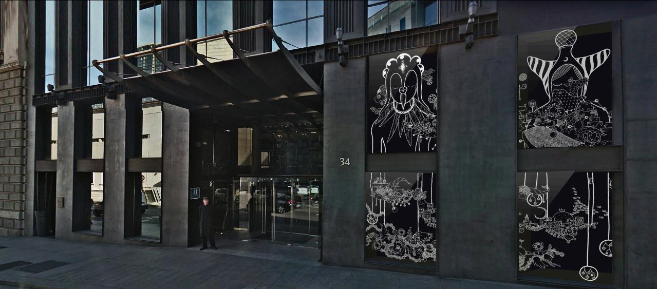Fachada Hotel Urban con los dibujos de Yoshi Sislay