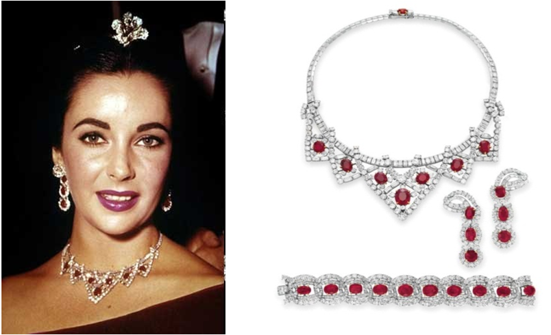 The ruby  and diamonds necklace from Elisabeth Taylor